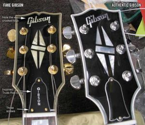 Comparativa guitarra Gibson falsa y original