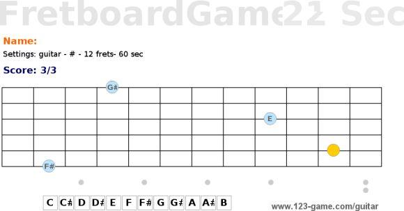 Juego aprender notas guitarra