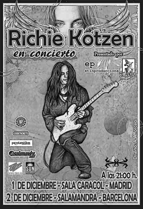 Conciertos de Richie Kotzen en España (Diciembre 2012)