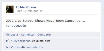 Cancelados los conciertos de Richie Kotzen en Europa