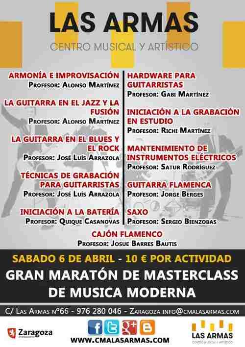 Maratón de MasterClass de música moderna en Zaragoza