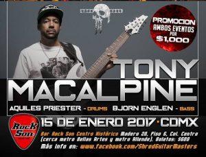 Concierto de Tony Macalpine en México (15 de enero)
